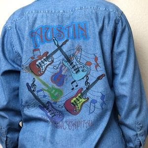 Tops - Austin Live Music Capital Denim Chambray Button-Up